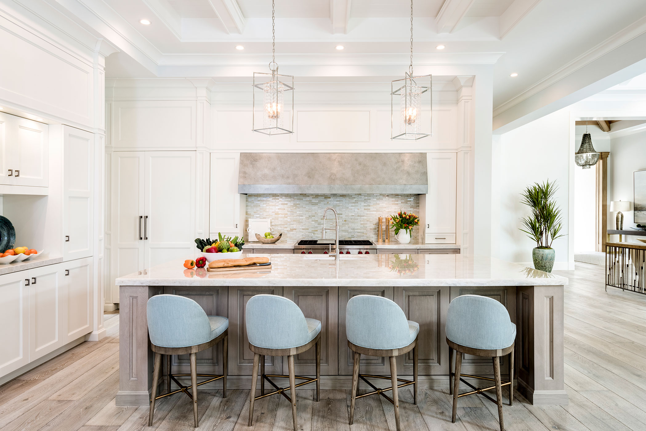 ABOVE: In The Sleek, Clean Lined Kitchen, Counter Stools From Hickory Chair  Clad In A Blue Sunbrella Fabric Pull Up To The Center Island, Finished In  Soft ...